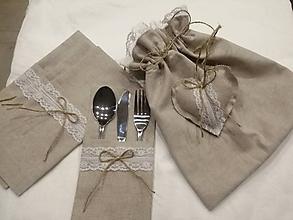 Úžitkový textil - Prestieranie na príbor+vrecko+srdiečko - 11526063_