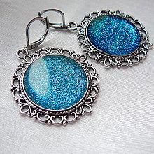 Náušnice - Modré vintage náušnice - 11527616_
