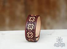 Náramky - Kožený náramok Výšivka - 11527555_