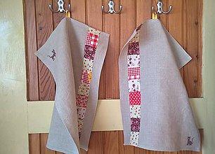 Úžitkový textil - Ľanová utierka s mačičkou - 11528515_