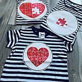 Tričká - Rodinná námornícka sada tričiek - srdcia - 11529623_