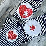 Tričká - Rodinná námornícka sada tričiek - srdcia - 11529624_