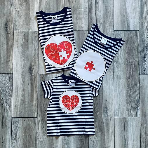 Rodinná námornícka sada tričiek - srdcia