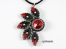 Náhrdelníky - Slnko - prívesok - čierna-červená - 11529838_
