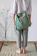 Nákupné tašky - Ľanová taška De Em (Zelená) - 11528448_