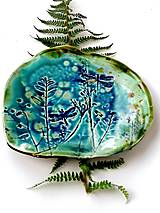 Nádoby - tanier misa prírodný vzor tyrkysová - 11527370_