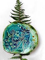Nádoby - tanier misa prírodný vzor tyrkysová - 11527371_