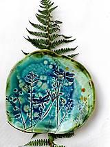 Nádoby - tanier misa prírodný vzor tyrkysová - 11527372_