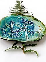 Nádoby - tanier misa prírodný vzor tyrkysová - 11527374_