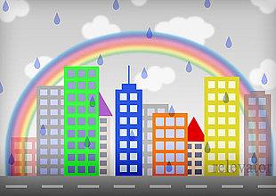 Grafika - Mesto v daždi (aj dúha) - 11527194_