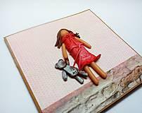 Papiernictvo - Pohľadnica ... dievčatko s mackom - 11533799_