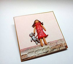 Papiernictvo - Pohľadnica ... dievčatko s mackom - 11533787_