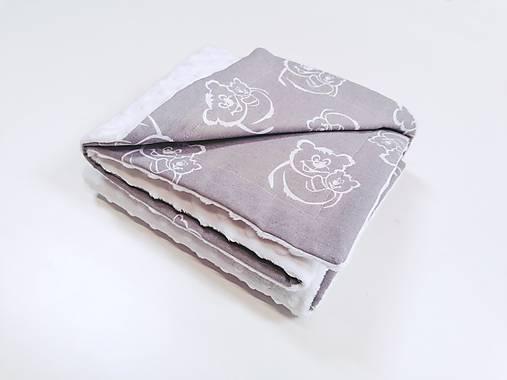 Minky deka biela a sivé medvedíky 70*100cm