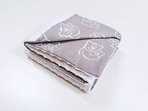 Textil - Minky deka biela a sivé medvedíky 70*100cm - 11532488_