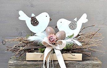 Dekorácie - Veľkonočná dekorácia s vtáčikmi - 11531006_