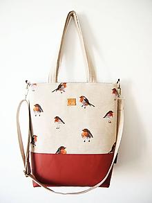 Veľké tašky - Veľká režná taška - vtáčiky so škoricovou III - 11532486_