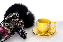 Nádoby - Žltá picollo šáločka s podšálkou - 11530805_