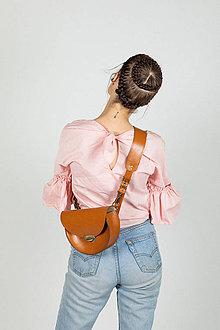 Kabelky - Kožená kabelka Daphne (koňaková hnedá) - 11531602_