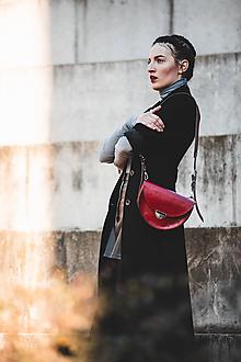 Kabelky - Kožená kabelka Daphne (červená) - 11532121_
