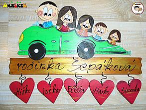 Tabuľky - Menovka - rodinka v aute - 11531724_