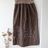 Sukne - Ľanová sukňa - trávy - 11531630_