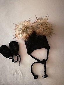 Detské čiapky - Supravička čierna rukavičky čiapočka - 11532744_