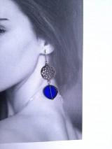 Náušnice - Modré oválne náušnice - 11530778_