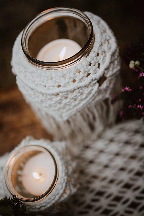 Dekorácie - Makramé dekorácia na pohár  - 11532955_
