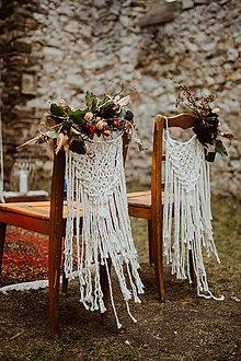 Dekorácie - Svadobné makramé na stoličku - 11532562_