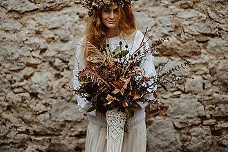 Kytice pre nevestu - Makramé obal na svadobnú kyticu - 11532885_