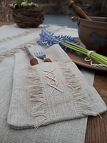 Úžitkový textil - Ľanové puzdro na príbor Modesty - 11533725_