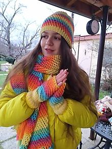 Čiapky - Súprava - šál, čiapka, rukavičky - Dáša - 11533010_