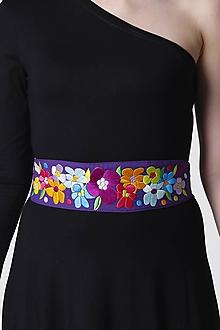 Opasky - Opasok široký fialový vyšívaný - 11536413_