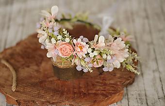 Ozdoby do vlasov - Kvetinový ružový venček z kolekcie Romantic bride - 11536423_