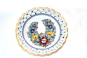 Nádoby - Farebný čipkovaný dvojradový tanier - 11534737_