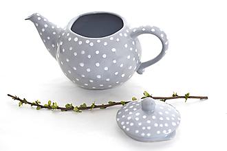 Nádoby - Šedý čajník s bodkami - 11534780_