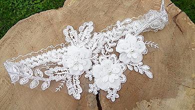 Bielizeň/Plavky - Luxusný svadobný podväzok perličky - 11535138_