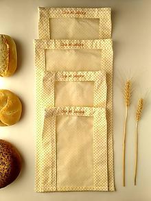 Úžitkový textil - Vrecúško na chlieb a pečivo - žlté bodky na bielej (Cenovo zvýhodnená sada 4 vrecúšok) - 11537331_