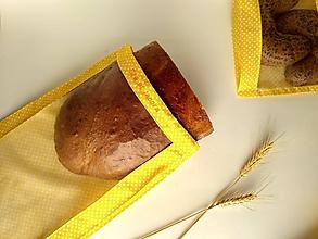 Úžitkový textil - Vrecúško na chlieb a pečivo - biele bodky na žltej (1kg chlieb) - 11537414_