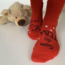 """Obuv - Maľované ponožky s nápisom: """"Som do teba / až po uši"""" (Červené 1) - 11535291_"""