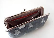 Peňaženky - Peňaženka XL Ihličnaté stromy na šedej - 11534320_