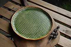 Nádoby - Zelený keramický tanier - 23,5cm - 11535827_