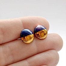 Náušnice - Napichovacie náušnice / Pecky gold modré - 11534863_