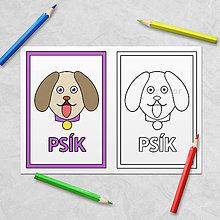 Hračky - Trochu poučná omaľovánka zvieratká - psík - 11536108_