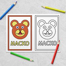 Hračky - Trochu poučná omaľovánka zvieratká - macko - 11536109_