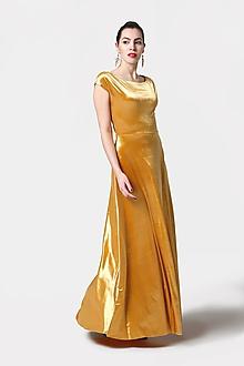 Šaty - Dlhé šaty zamatové zlaté (38) - 11537649_