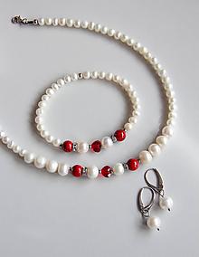 Sady šperkov - Luxusná sada - sladkovodné perly, swarovski srdce - 11539967_