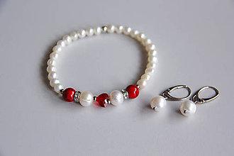 Sady šperkov - Luxusná sada - sladkovodné perly, swarovski srdce - 11540002_