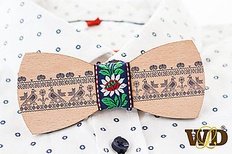 Doplnky - Drevený ľudový motýlik Čičmany - 11538369_