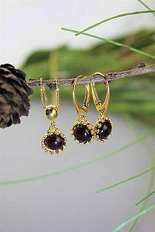 Sady šperkov - granát náušnice a prívesok v striebre - luxusný set - 11539919_